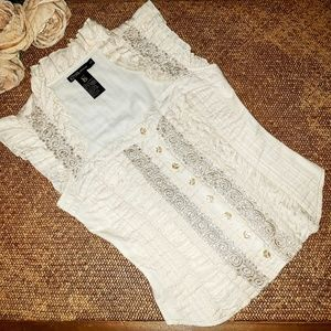EUC GRASS COLLECTION Ivory Ruffle Lace Top Blouse
